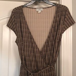 Ann Taylor Loft sz 14 brown faux wrap dress